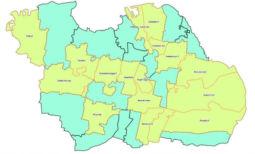 daftar kecamatan surabaya barat selatan utara timur pusat